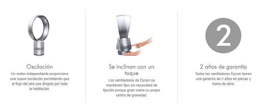 caracteristicas ventiladores dyson